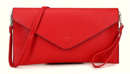ORDER BY REQUEST - RED OVER-SIZED ENVELOPE CLUTCH BAG WITH LONG CROSS BODY AND WRISTLET STRAPS