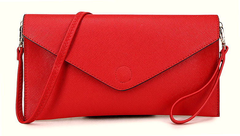 RED OVER-SIZED ENVELOPE CLUTCH BAG WITH LONG CROSS BODY AND WRISTLET STRAPS