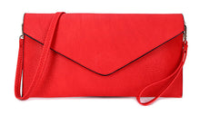 A-SHU RED OVER-SIZED ENVELOPE CLUTCH BAG WITH LONG CROSS BODY AND WRISTLET STRAP - A-SHU.CO.UK
