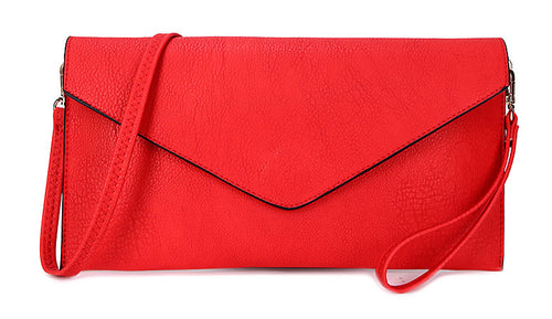 RED OVER-SIZED ENVELOPE CLUTCH BAG WITH LONG CROSS BODY AND WRISTLET STRAP