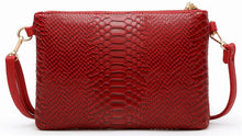 RED PATENT SNAKESKIN TASSEL CLUTCH BAG WITH LONG CROSS BODY SHOULDER STRAP