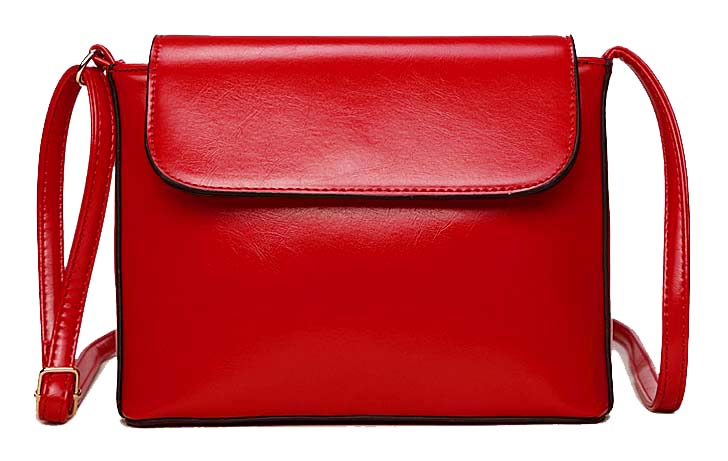 RED PLAIN SATCHEL STYLE FAUX LEATHER CROSS BODY SHOULDER BAG