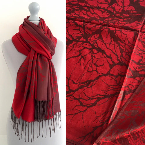 A-SHU RED REVERSIBLE PASHMINA SHAWL SCARF IN ABSTRACT PRINT - A-SHU.CO.UK
