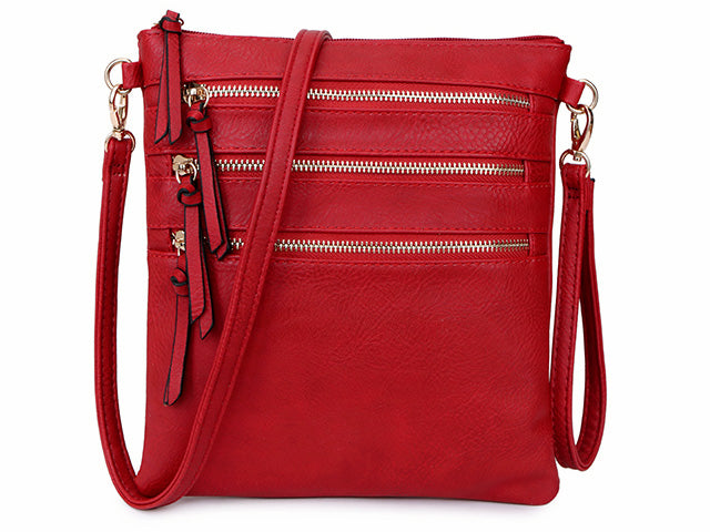A-SHU RED SLIM MULTI POCKET CROSS BODY BAG WITH LONG STRAP - A-SHU.CO.UK