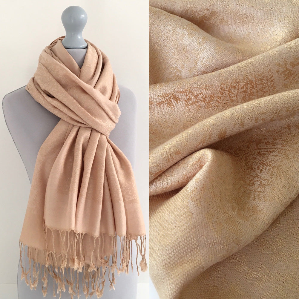 A-SHU ROSE GOLD PAISLEY PRINT REVERSIBLE PASHMINA SHAWL SCARF - A-SHU.CO.UK
