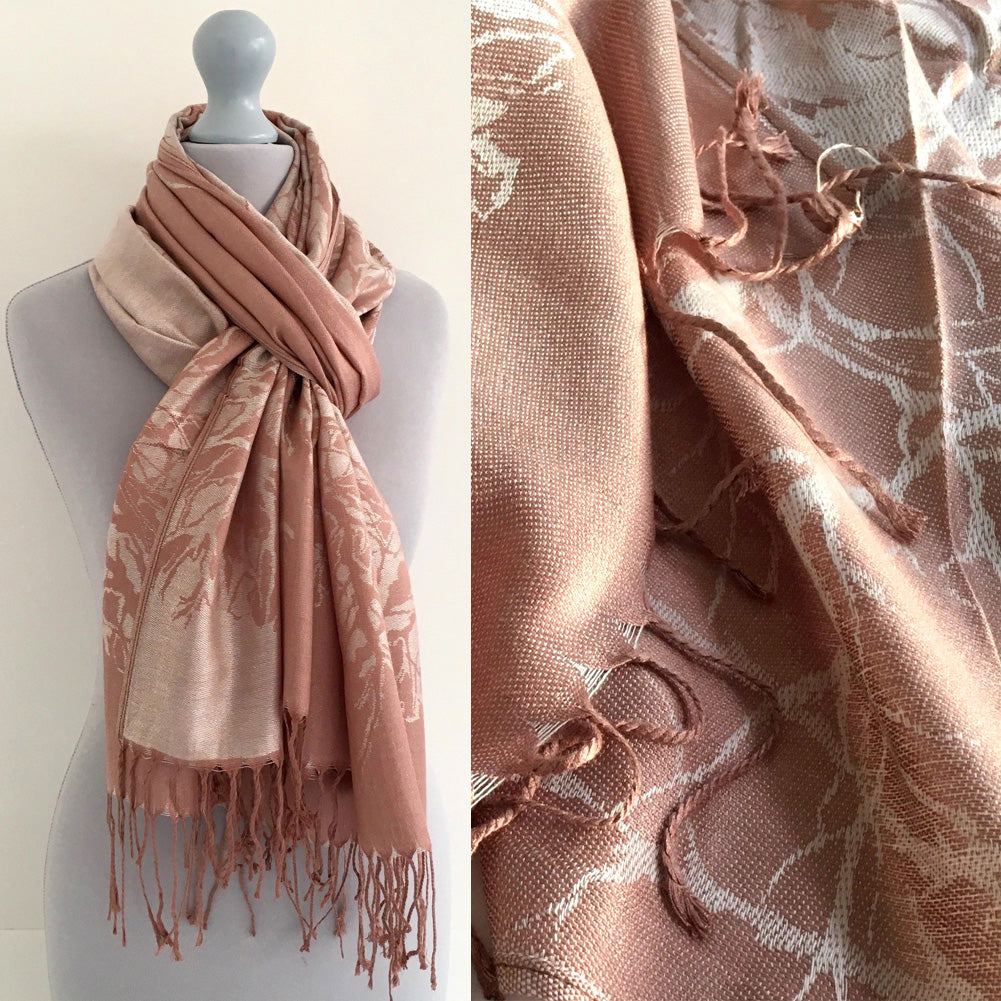 A-SHU ROSE GOLD REVERSIBLE PASHMINA SHAWL SCARF IN ABSTRACT PRINT - A-SHU.CO.UK