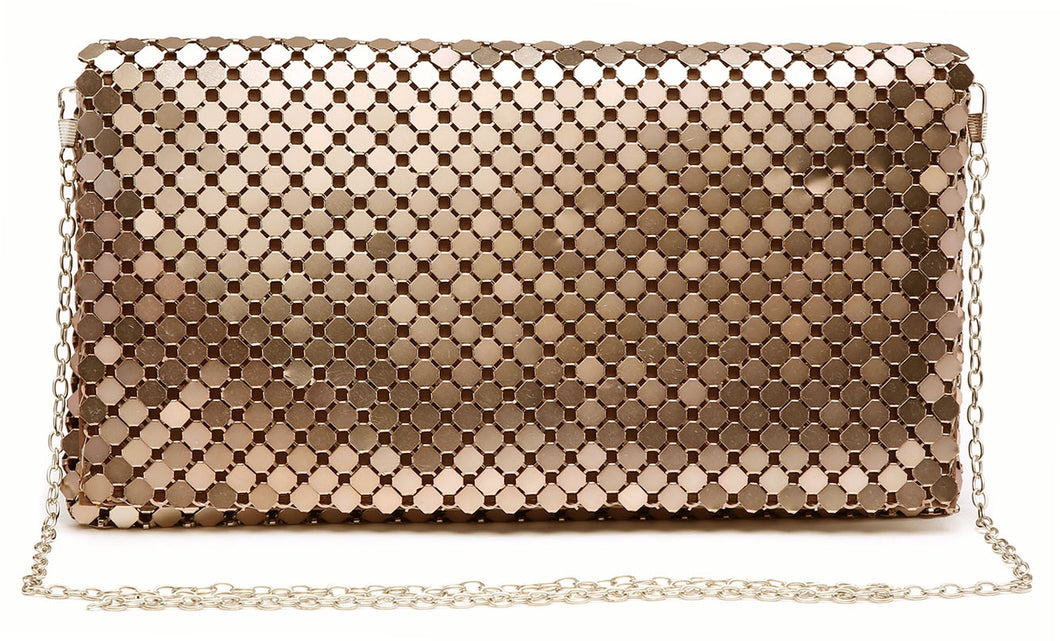 ROSE GOLD LASER CUT REFLECTIVE METALLIC HOLOGRAM ENVELOPE CLUTCH BAG WITH LONG CHAIN SHOULDER STRAP