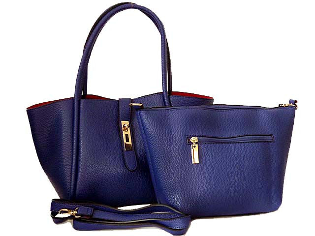 ROYAL BLUE LEATHER EFFECT TOTE HANDBAG SET WITH DETACHABLE INTERNAL BAG AND LONG STRAP