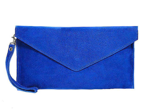 ORDER BY REQUEST - GENUINE SUEDE ROYAL BLUE OVER-SIZED ENVELOPE CLUTCH BAG / SHOULDER BAG WITH LONG SHOULDER STRAP