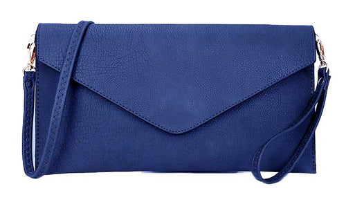 A-SHU ROYAL BLUE OVER-SIZED ENVELOPE CLUTCH BAG WITH LONG CROSS BODY AND WRISTLET STRAP - A-SHU.CO.UK