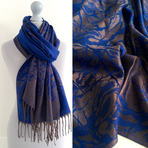 A-SHU ROYAL BLUE REVERSIBLE PASHMINA SHAWL SCARF IN ABSTRACT PRINT - A-SHU.CO.UK