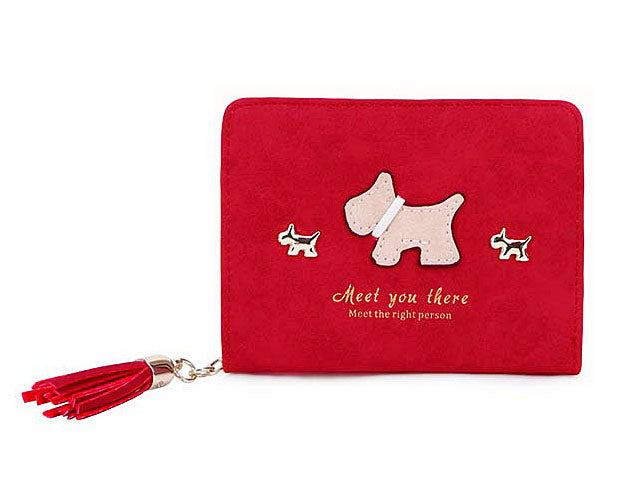 A-SHU SMALL RED BI-FOLD DOG WALLET COIN PURSE WITH TASSEL - A-SHU.CO.UK