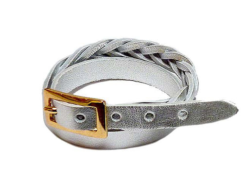 SILVER GENUINE LEATHER WRAP AROUND WOVEN WRIST STRAP BRACELET