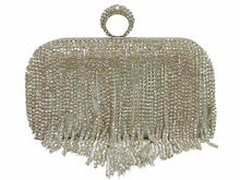 SILVER RING DIAMANTE HARDBACK CLUTCH BAG WITH LONG CHAIN STRAP