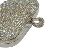 A-SHU SILVER RING DIAMANTE HARDBACK CLUTCH BAG WITH LONG CHAIN STRAP - A-SHU.CO.UK