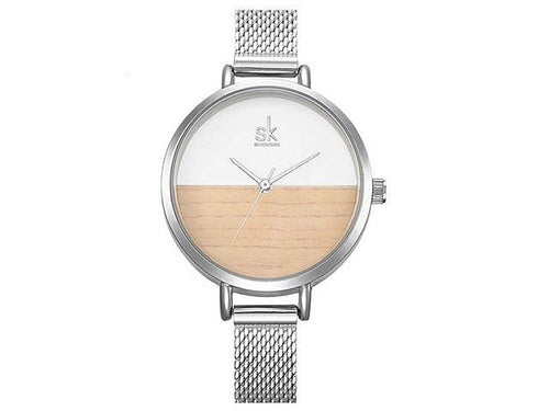 SILVER WATCH WITH MESH BAND STRAP