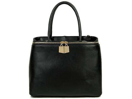 A-SHU SIMPLE BLACK MULTI-COMPARTMENT HANDBAG WITH LONG SHOULDER STRAP - A-SHU.CO.UK