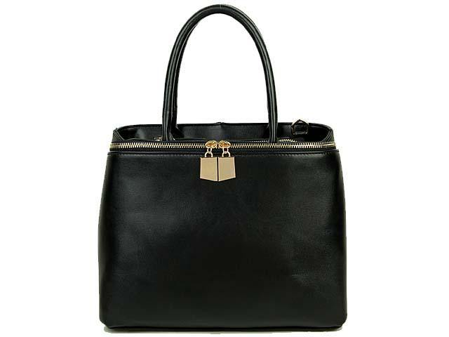 SIMPLE BLACK MULTI-COMPARTMENT HANDBAG WITH LONG SHOULDER STRAP