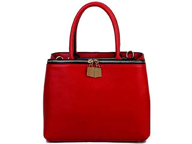 SIMPLE RED MULTI-COMPARTMENT HANDBAG WITH LONG SHOULDER STRAP