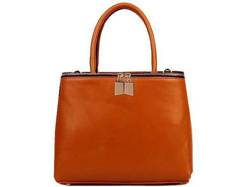 A-SHU SIMPLE TAN MULTI-COMPARTMENT HANDBAG WITH LONG SHOULDER STRAP - A-SHU.CO.UK