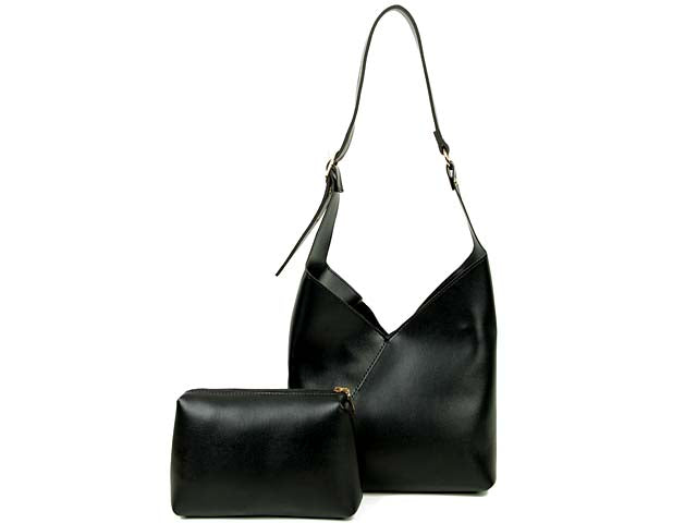 SLIM-LINE BLACK SHOULDER HANDBAG WITH SMALL DETACHABLE INTERNAL POUCH