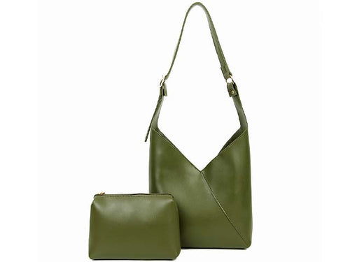 SLIM-LINE GREEN SHOULDER HANDBAG WITH SMALL DETACHABLE INTERNAL POUCH