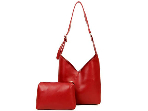SLIM-LINE RED SHOULDER HANDBAG WITH SMALL DETACHABLE INTERNAL POUCH