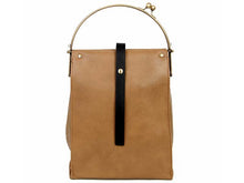 SLIM-LINE TAN HOLDALL HANDBAG WITH METAL HANDLES AND LONG CHAIN STRAP