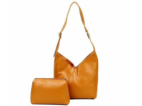 SLIM-LINE TAN SHOULDER HANDBAG WITH SMALL DETACHABLE INTERNAL POUCH