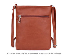 TAUPE BROWN SLIM MULTI POCKET CROSS BODY BAG WITH LONG SHOULDER STRAP