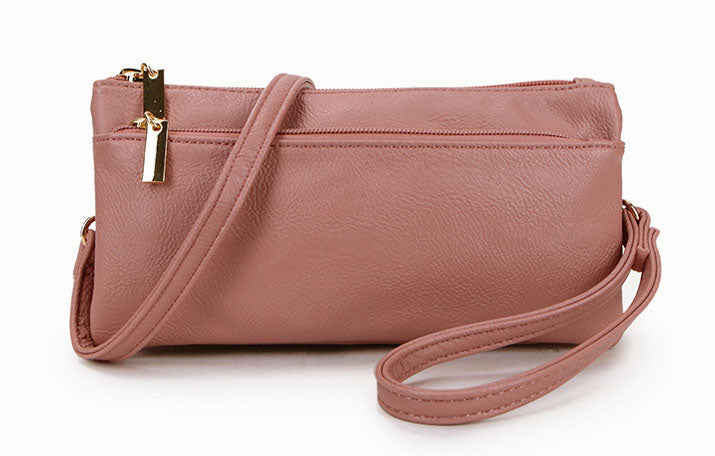 A-SHU SLIM BLUSH PINK MULTI COMPARTMENT CROSS BODY MESSENGER PURSE BAG WITH WRISTLET AND LONG STRAP - A-SHU.CO.UK