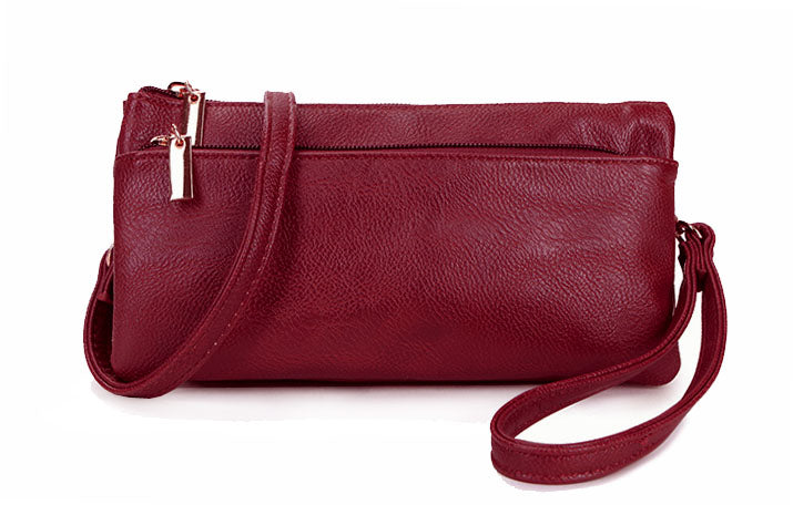 A-SHU SLIM BURGUNDY MULTI COMPARTMENT CROSS BODY MESSENGER PURSE BAG WITH WRISTLET AND LONG STRAP - A-SHU.CO.UK