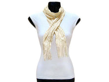 A-SHU SLIM CREAM CRINKLE SCARF WITH SILVER METALLIC THREAD - A-SHU.CO.UK