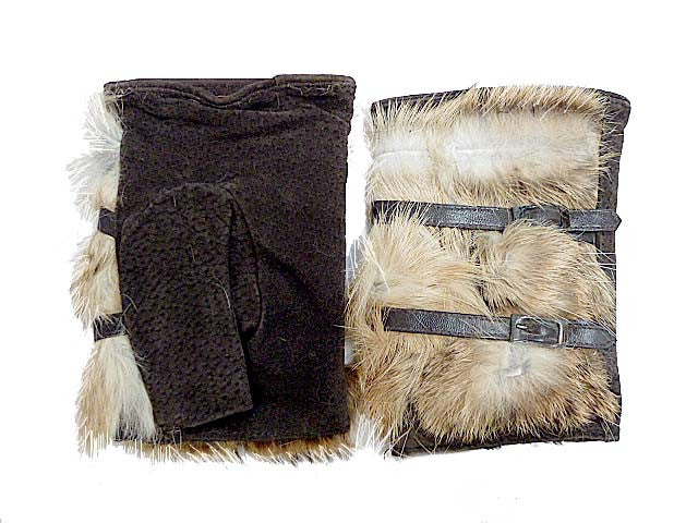 A-SHU SLIM FIT GENUINE LEATHER BROWN FINGERLESS FUR MITTENS - A-SHU.CO.UK