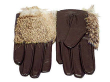 A-SHU SLIM FIT GENUINE LEATHER BROWN GLOVES WITH FUR FRONT - A-SHU.CO.UK