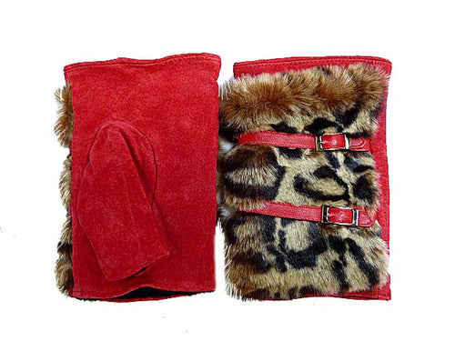 SLIM FIT GENUINE LEATHER RED FINGERLESS FUR MITTENS