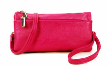 A-SHU SLIM FUSCHIA PINK MULTI COMPARTMENT CROSS BODY MESSENGER PURSE BAG WITH WRISTLET AND LONG STRAP - A-SHU.CO.UK