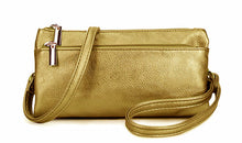 A-SHU SLIM GOLD MULTI COMPARTMENT CROSS BODY MESSENGER PURSE BAG WITH WRISTLET AND LONG STRAP - A-SHU.CO.UK