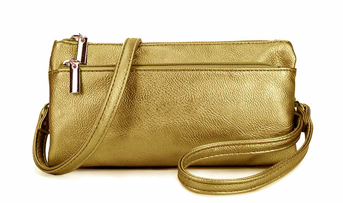 SLIM GOLD MULTI COMPARTMENT CROSS BODY MESSENGER PURSE BAG WITH WRISTLET AND LONG STRAP