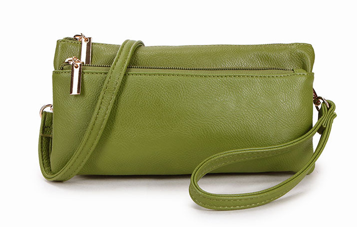 A-SHU SLIM GREEN MULTI COMPARTMENT CROSS BODY MESSENGER PURSE BAG WITH WRISTLET AND LONG STRAP - A-SHU.CO.UK