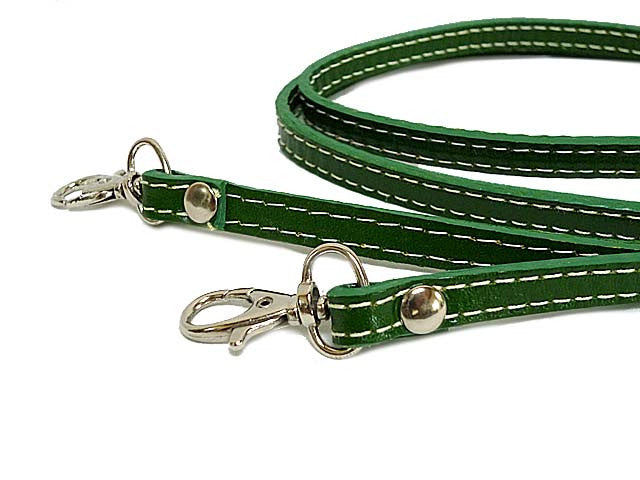 A-SHU SLIM GREEN SEMI-PATENT LONG HANDBAG SHOULDER STRAP - A-SHU.CO.UK