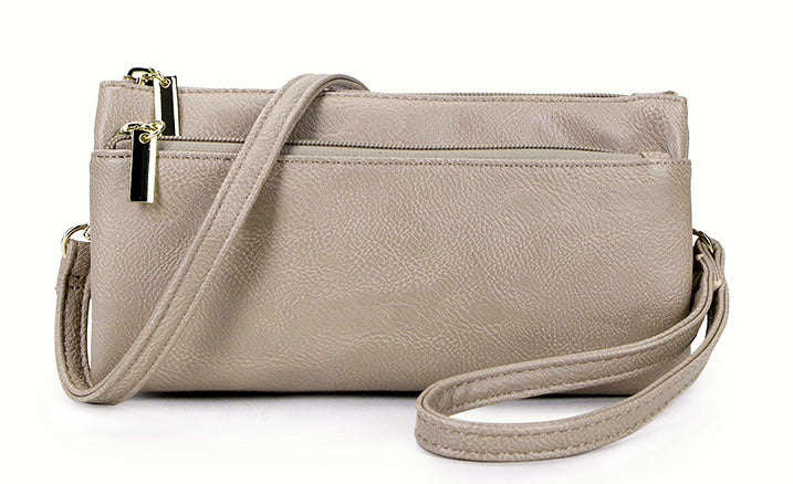 SLIM LIGHT GREY MULTI COMPARTMENT CROSS BODY MESSENGER PURSE BAG WITH WRISTLET AND LONG STRAP