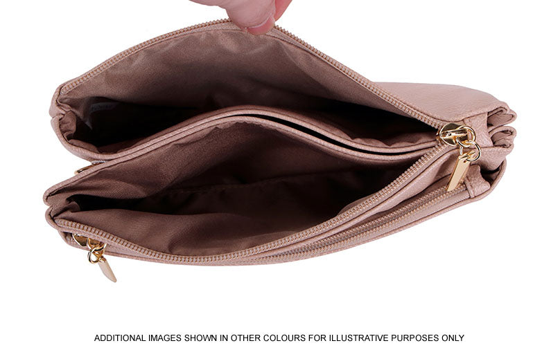 A-SHU SLIM BROWN MULTI COMPARTMENT CROSS BODY MESSENGER PURSE BAG WITH WRISTLET AND LONG STRAP - A-SHU.CO.UK