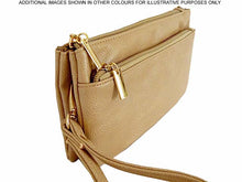 A-SHU SLIM TAUPE MULTI COMPARTMENT CROSS BODY MESSENGER PURSE BAG WITH WRISTLET AND LONG STRAP - A-SHU.CO.UK
