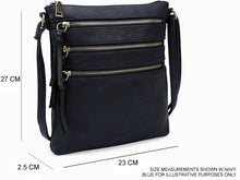 A-SHU METALLIC PEWTER SLIM MULTI POCKET CROSS BODY BAG WITH LONG STRAP - A-SHU.CO.UK