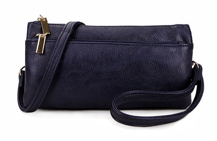 A-SHU SLIM NAVY BLUE MULTI COMPARTMENT CROSS BODY MESSENGER PURSE BAG WITH WRISTLET AND LONG STRAP - A-SHU.CO.UK