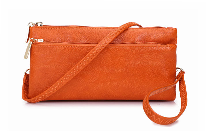 A-SHU SLIM ORANGE MULTI COMPARTMENT CROSS BODY MESSENGER PURSE BAG WITH WRISTLET AND LONG STRAP - A-SHU.CO.UK