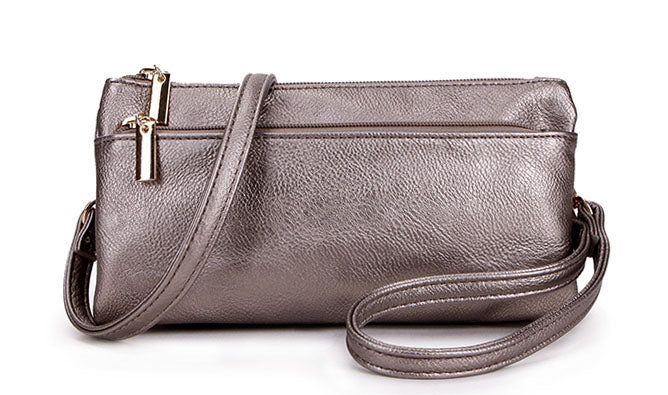 A-SHU SLIM PEWTER MULTI COMPARTMENT CROSS BODY MESSENGER PURSE BAG WITH WRISTLET AND LONG STRAP - A-SHU.CO.UK