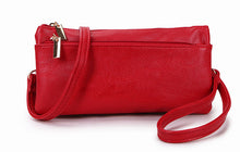 A-SHU SLIM RED MULTI COMPARTMENT CROSS BODY MESSENGER PURSE BAG WITH WRISTLET AND LONG STRAP - A-SHU.CO.UK