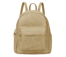 A-SHU SMALL BEIGE PLAIN MULTI COMPARTMENT CROSS BODY BACKPACK - A-SHU.CO.UK